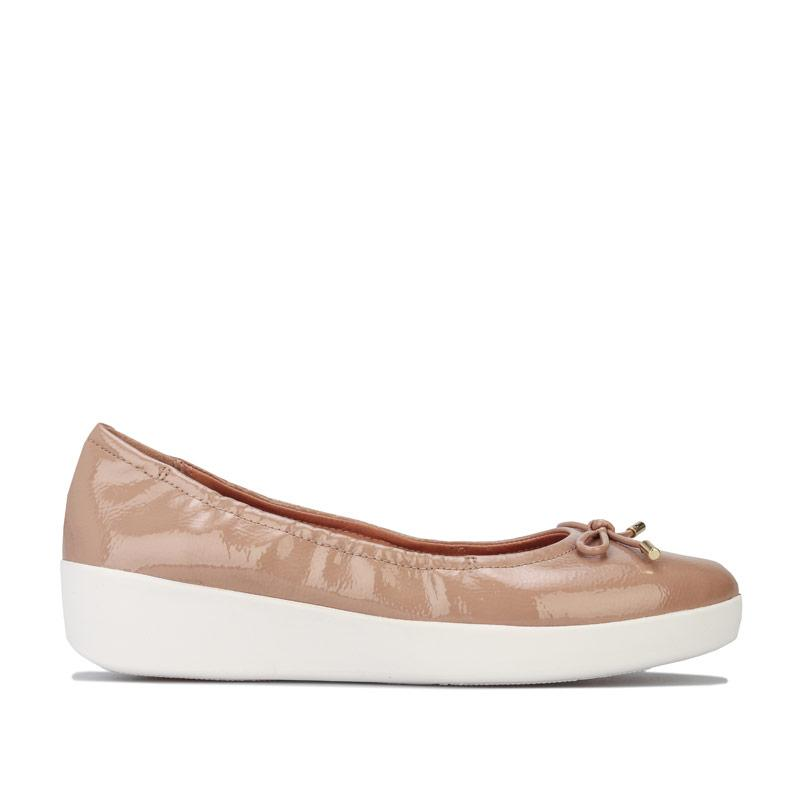 Fit Flop Womens Superbendy Patent Ballerina Shoes Taupe