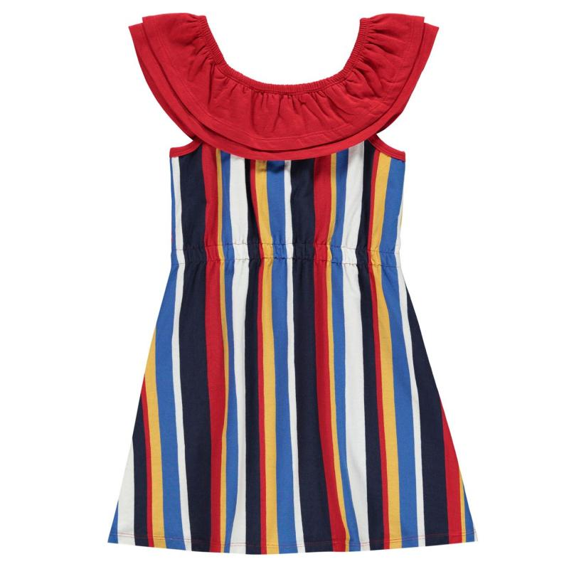 Šaty SoulCal Stripe Frill Dress Junior Girls Bardot Stripe