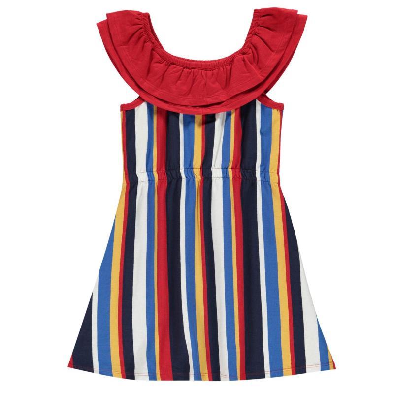 Šaty SoulCal Stripe Frill Dress Junior Girls Bardot Stripe