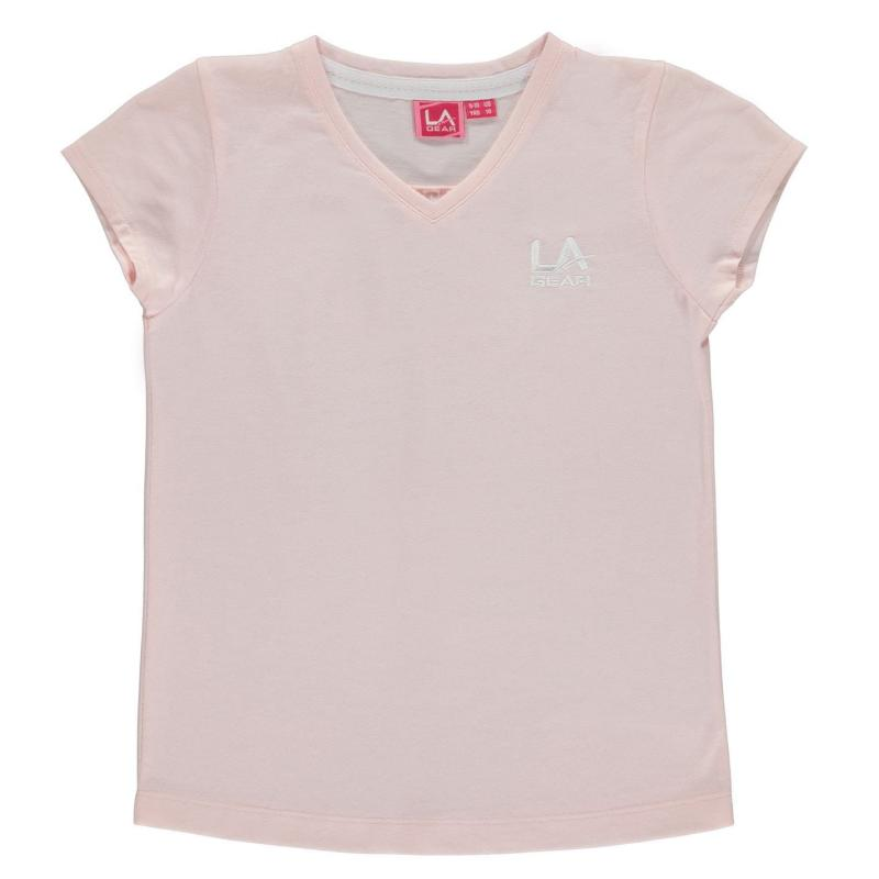 LA Gear V Neck T Shirt Junior Girls Pale Pink