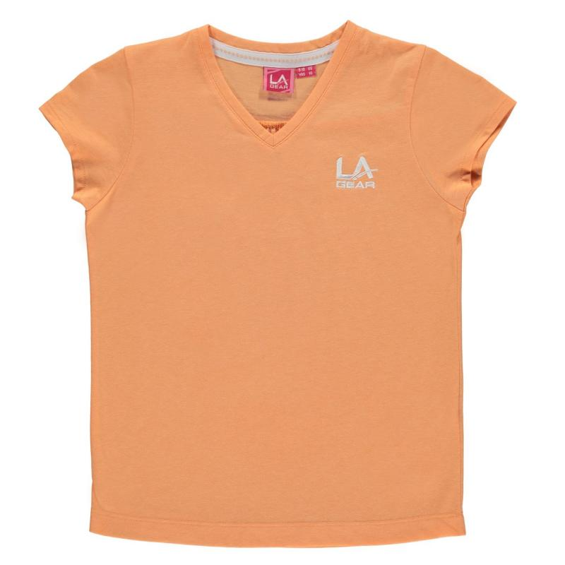 LA Gear V Neck T Shirt Junior Girls Peach