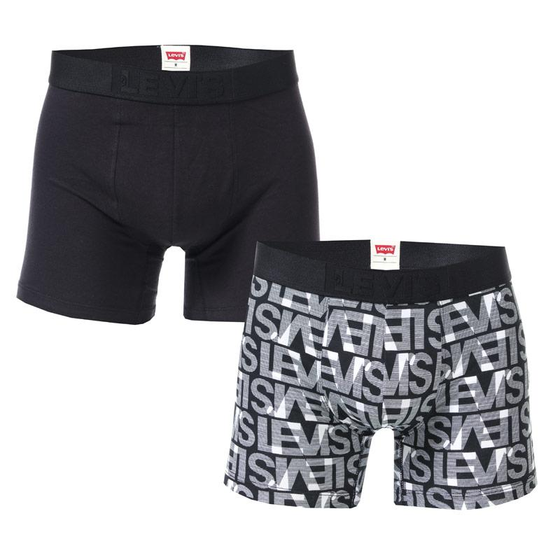 Spodní prádlo Levis Mens All Over Print 2 Pack Boxer Shorts Black