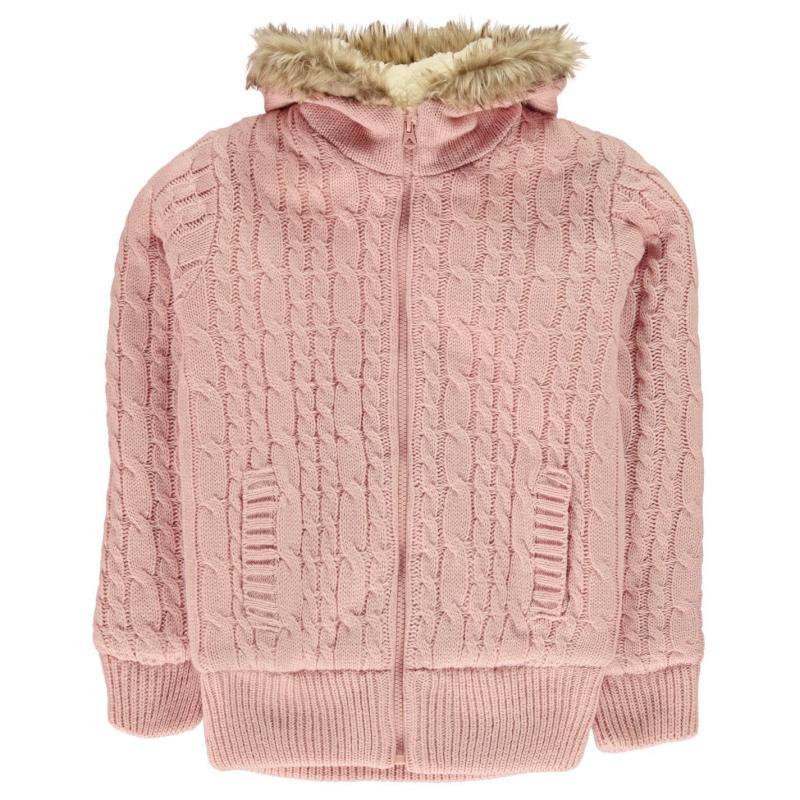 SoulCal Zip Knit Jacket Junior Girls Pink