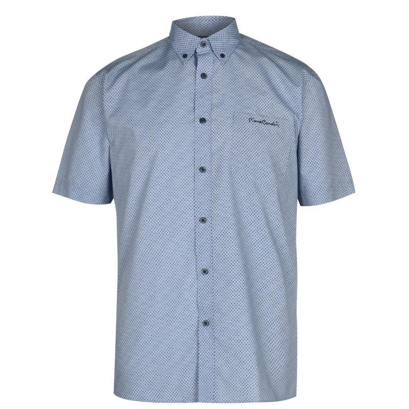 Pierre Cardin Short Sleeve Shirt Mens Blue/Navy Geo