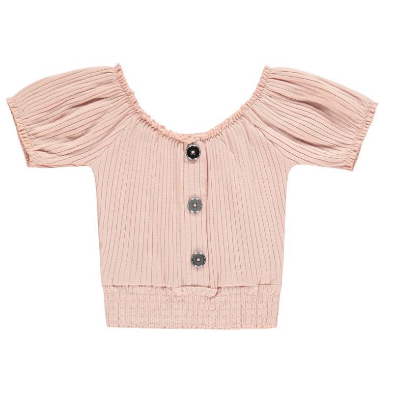 Firetrap Shirred Crop Top Junior Girls Lotus Pink
