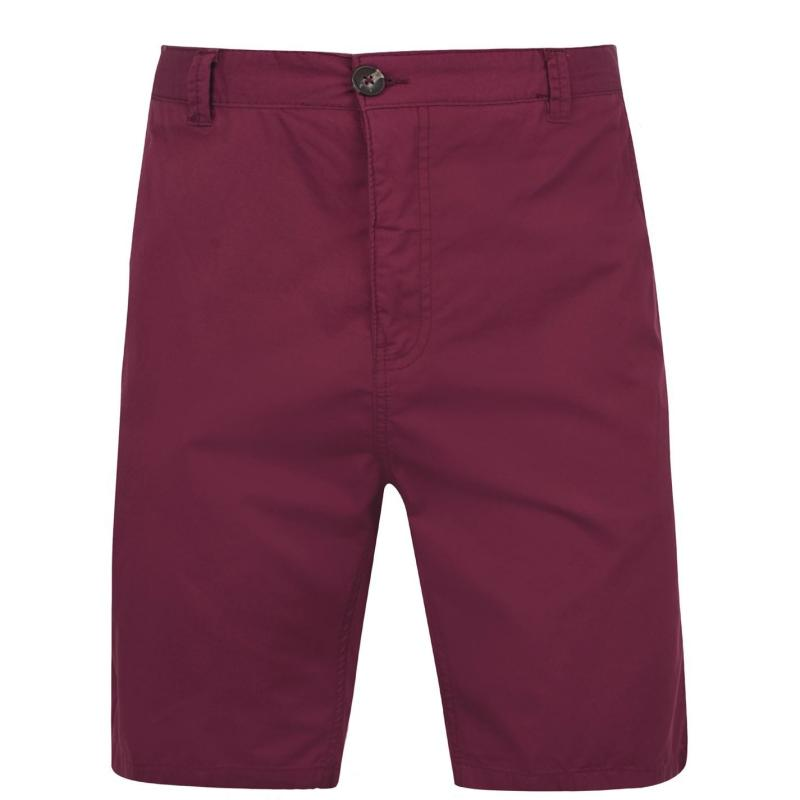 Pierre Cardin Washed Chino Shorts Mens Burgundy