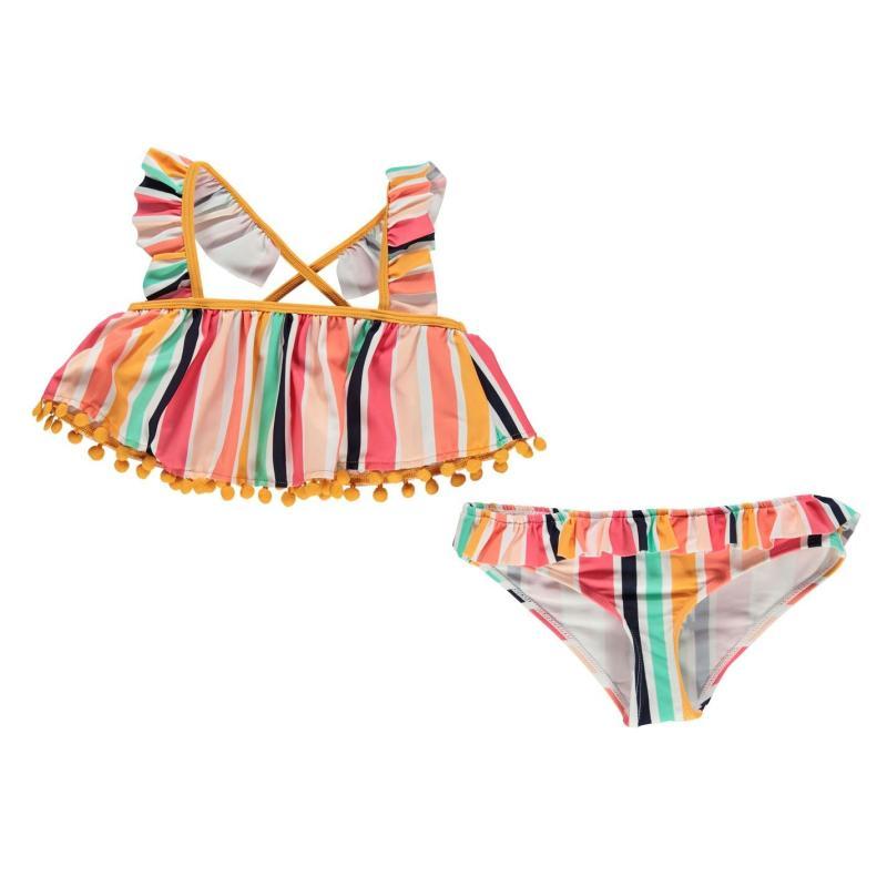 SoulCal Swimsuit Junior Girls Ochre Striped
