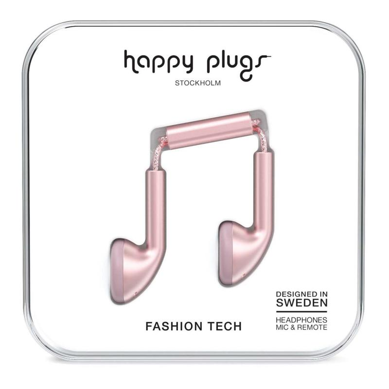 Happy Plugs Earbud Headphones Pink Gold