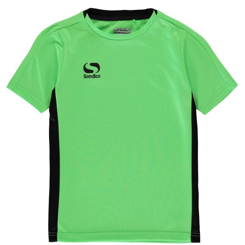Tričko Sondico Fundamental Polo T Shirt Junior Boys FluGreen/Black