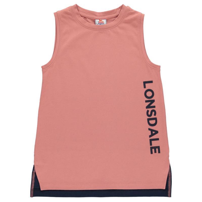 Lonsdale Layer Vest Junior Girls Pink/Navy