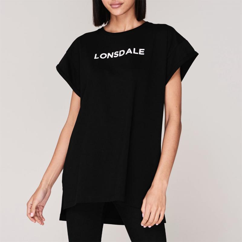 Lonsdale Long Line T Shirt Ladies Black/White
