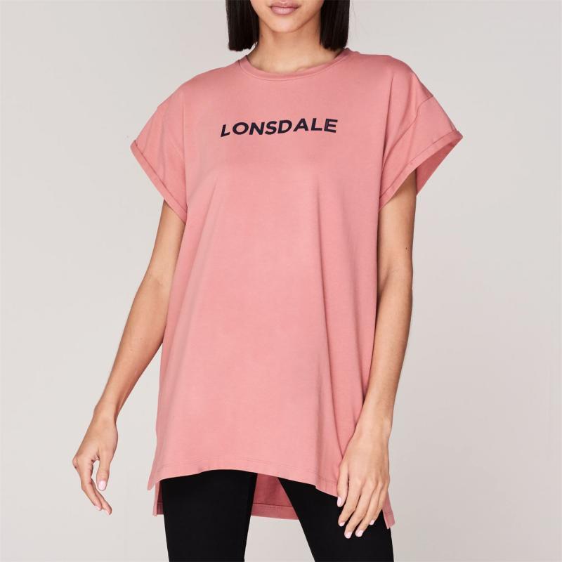 Lonsdale Long Line T Shirt Ladies Pink/Navy