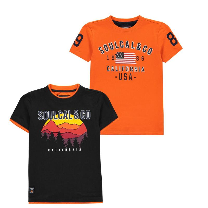 Tričko SoulCal 2 Pack USA T Shirts Junior Boys Orange/Navy