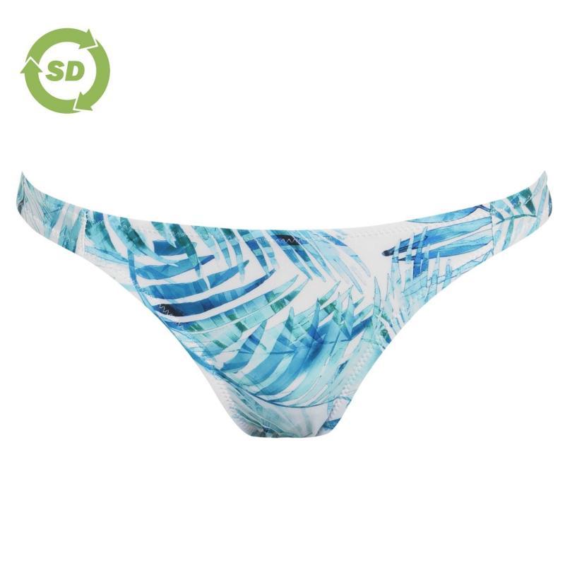 Plavky SoulCal Leaf Print Bikini Bottoms White Palm Prnt