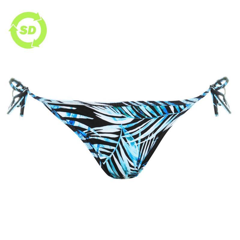 Plavky SoulCal Tie Bikini Bottoms Black Palm Prnt