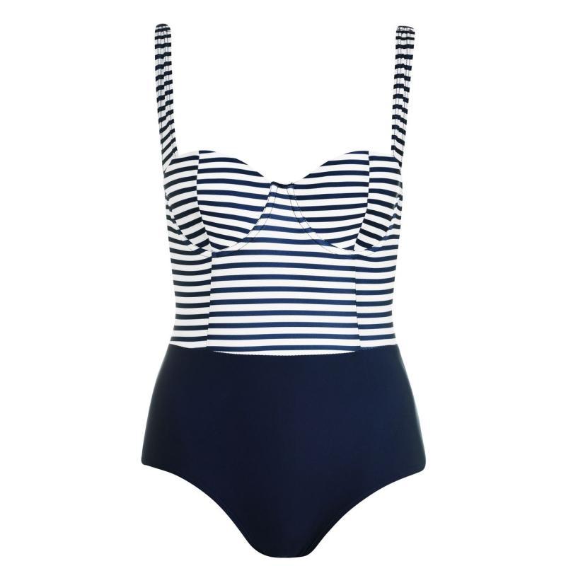 Plavky SoulCal Top Panel Swimsuit Navy Stripe