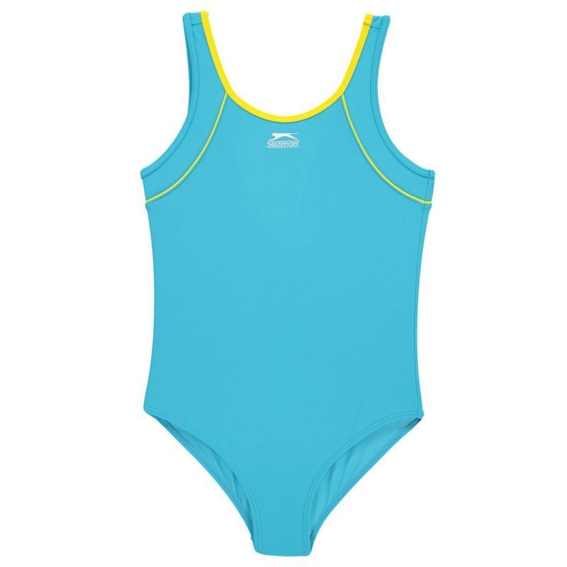 Slazenger Basic Swimsuit Junior Girls Blue/Yellow