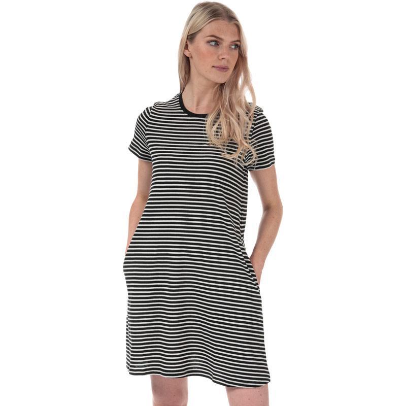 Šaty Only Womens May Life A-Line Stripe Dress Black-White