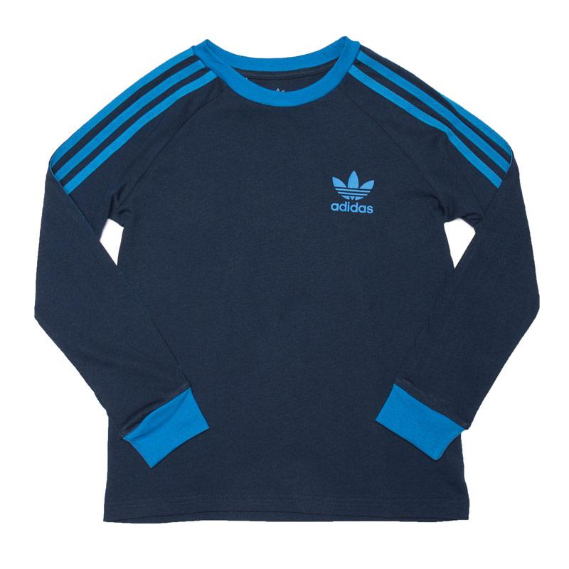 Tričko Adidas Originals Junior Boys 3-Stripes Long Sleeve T-Shirt Navy
