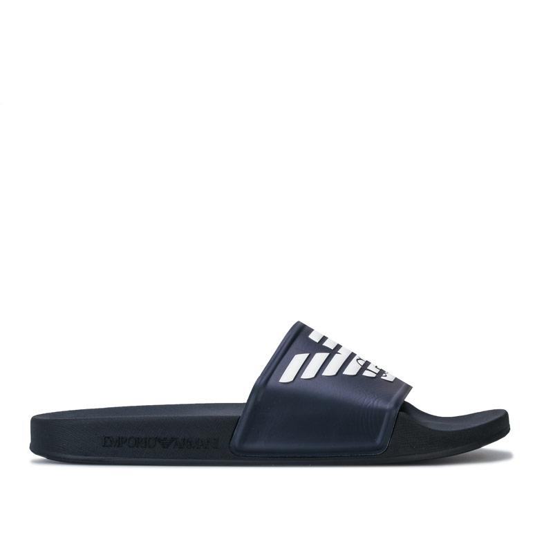 Armani Mens Embossed Logo Slide Sandals Navy