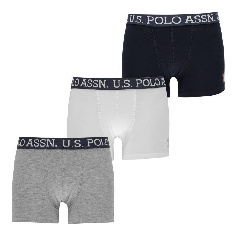 Spodní prádlo US Polo Assn 3 Pack Trunks Nvy/Wht/Gry