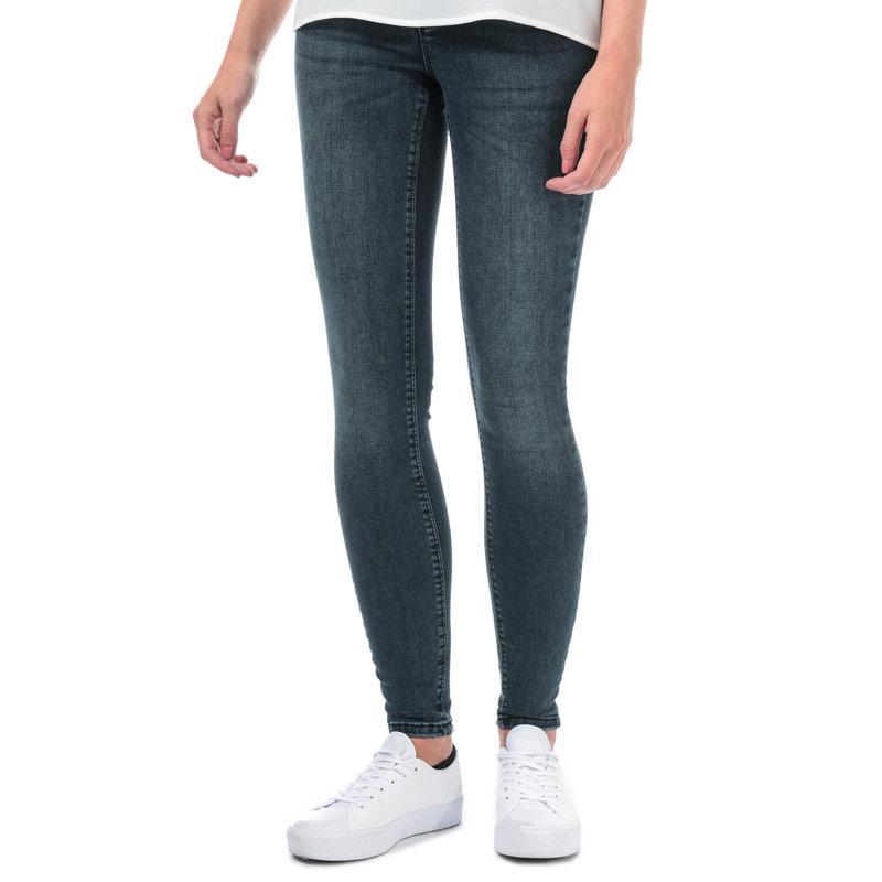 Vero Moda Womens Lux Mid Rise Super Slim Jeans Dark Blue