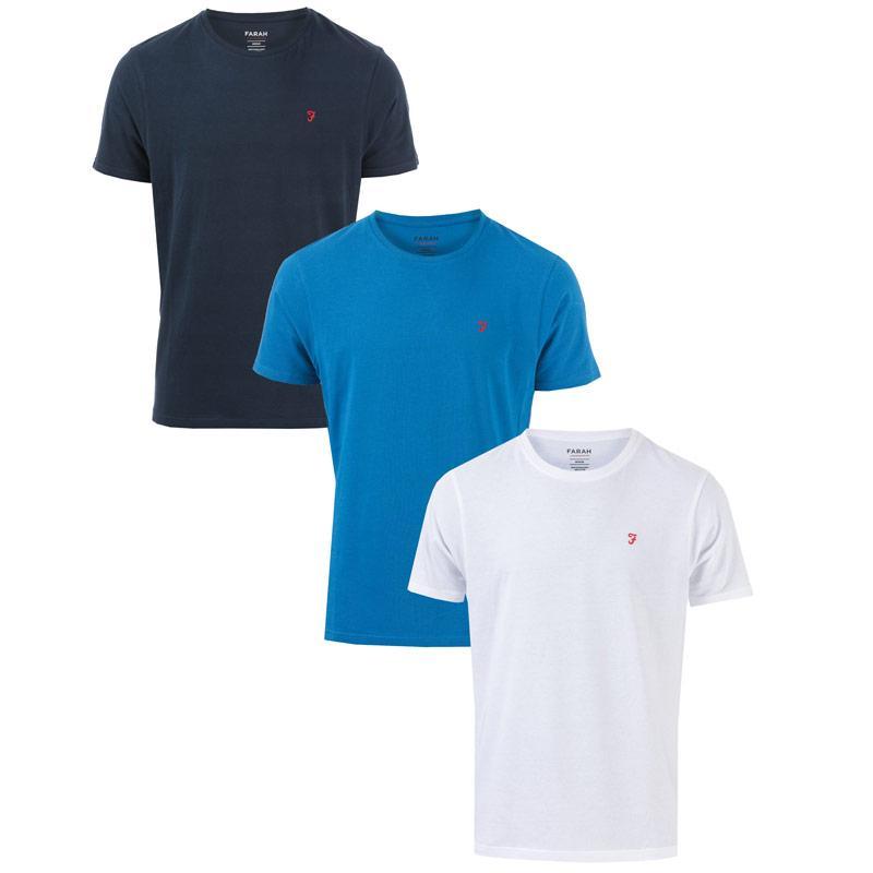 Tričko Farah Mens 3 Pack T-Shirts White Navy