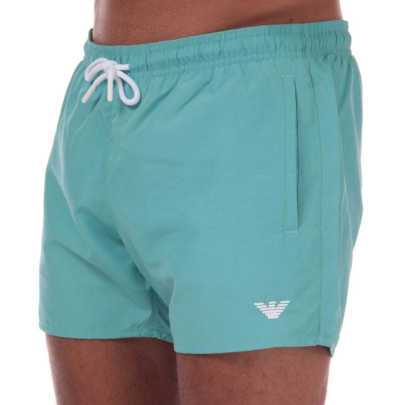 Armani Mens Embroidered Logo Swim Shorts Turquoise