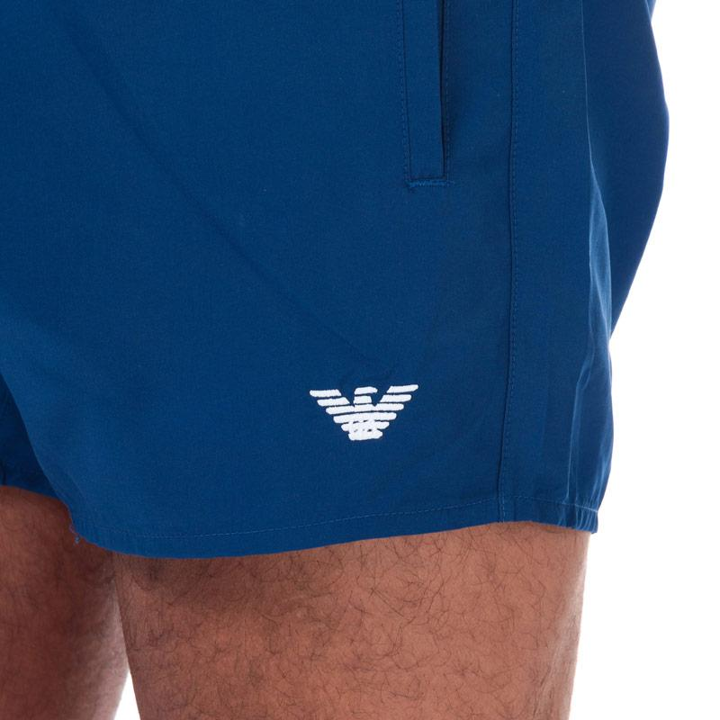 Armani Mens Embroidered Logo Swim Shorts Blue