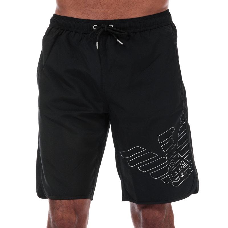 Armani Mens Silver Eagle Board Shorts Black