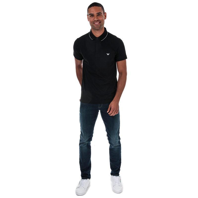 Armani Mens Tipped Pique Polo Shirt Black