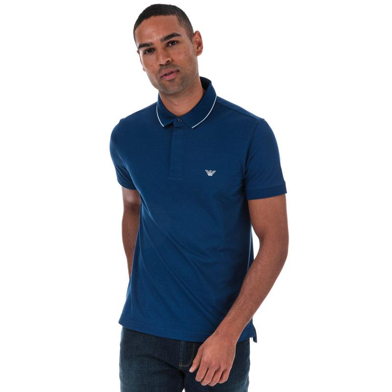 Armani Mens Tipped Pique Polo Shirt Blue