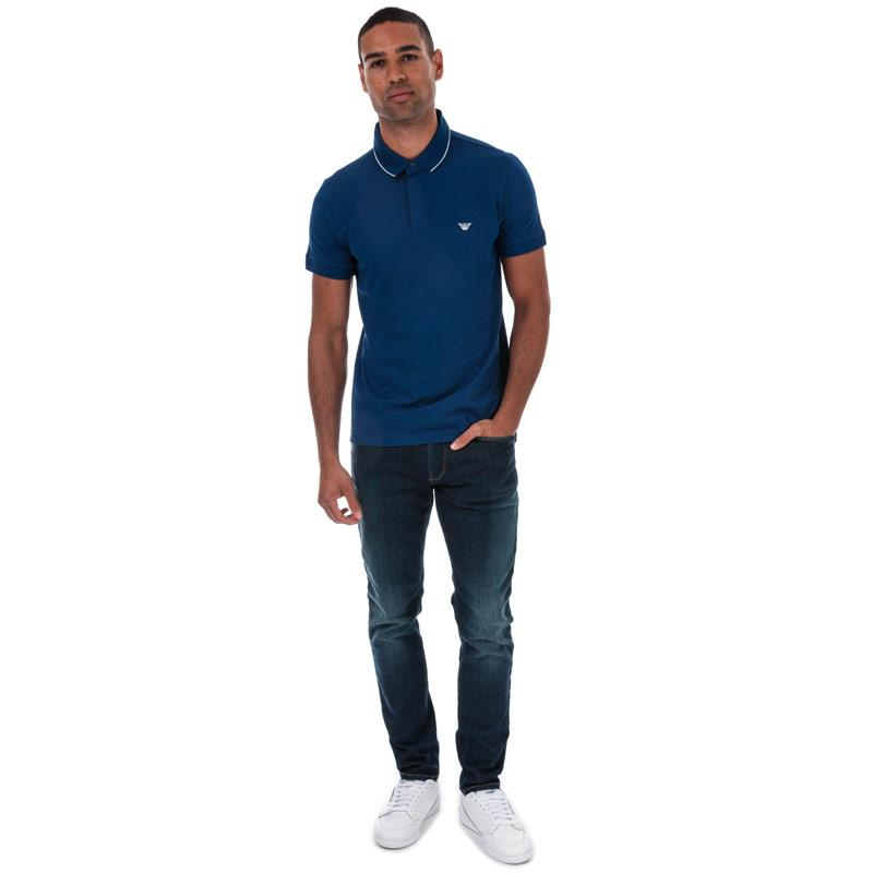 Armani Mens Tipped Pique Polo Shirt Blue