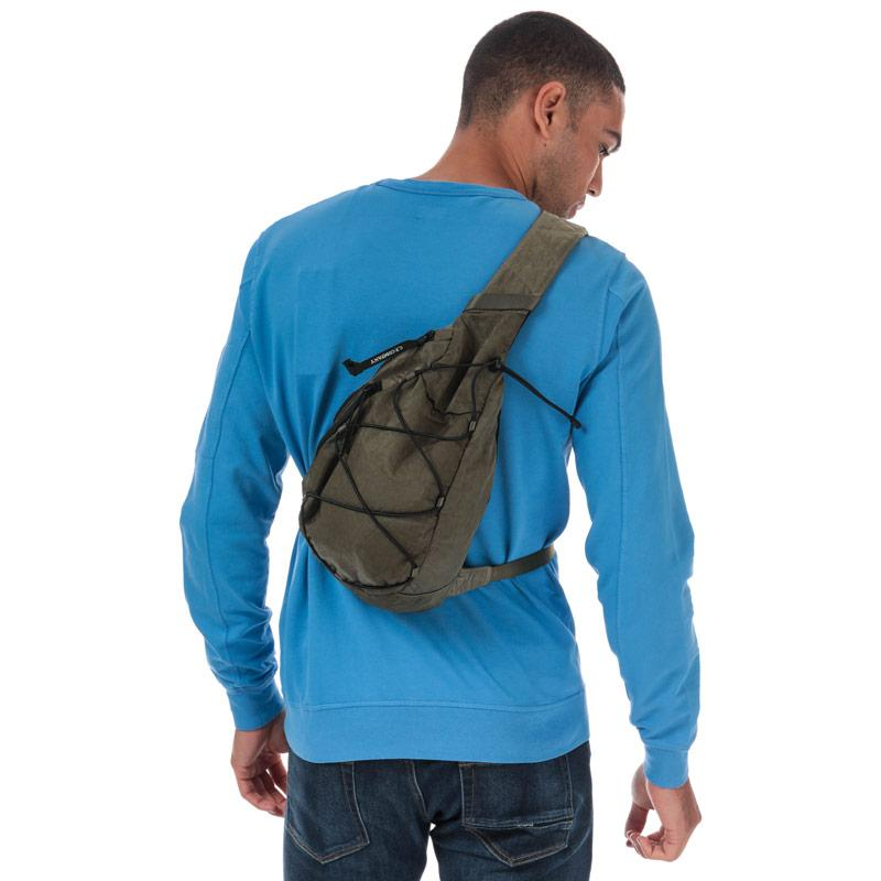 C.P. Company Garment Dyed Nylon Sateen Lens Shoulder Bag Khaki