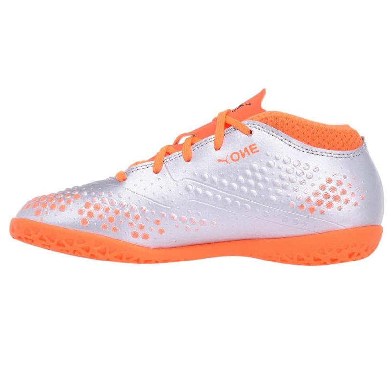 Puma ONE 4 Juniors Indoor Football Boots Silver/Orange