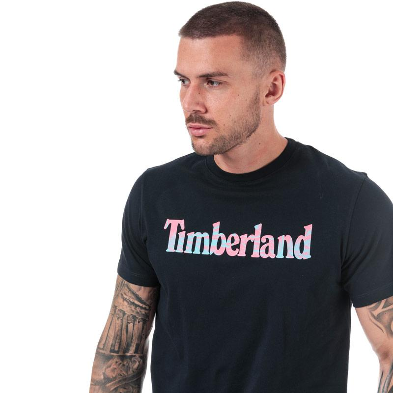 Timberland Mens Kennebec River Pattern Logo T-Shirt Navy