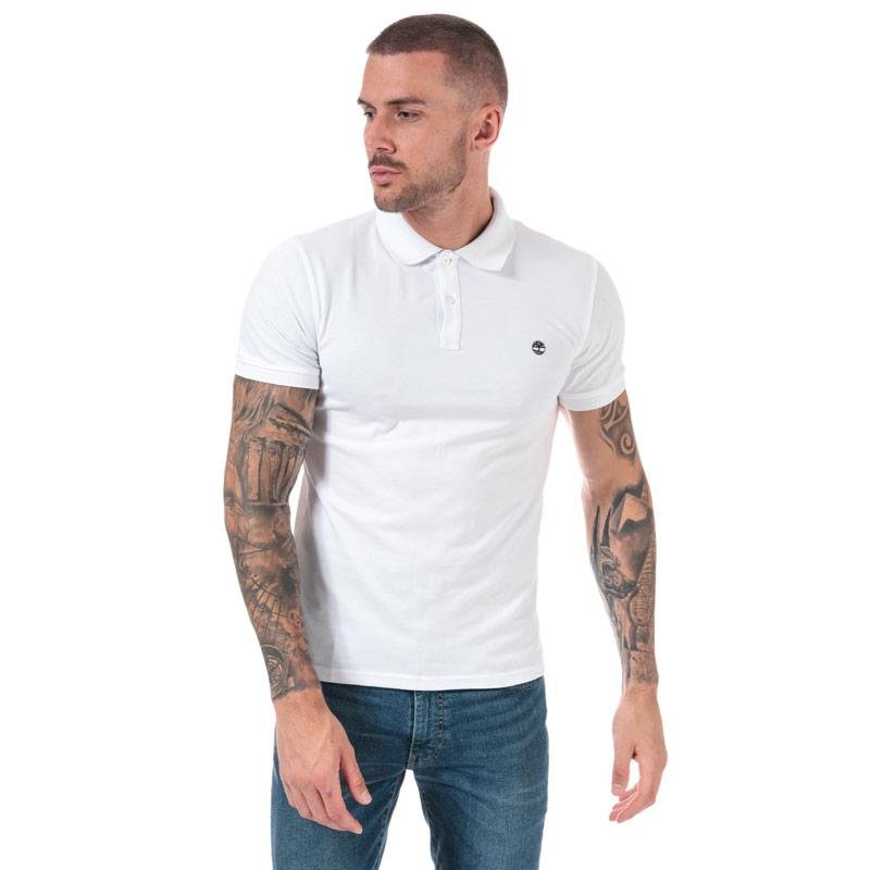 Timberland Mens Millers River Jacquard Polo Shirt White