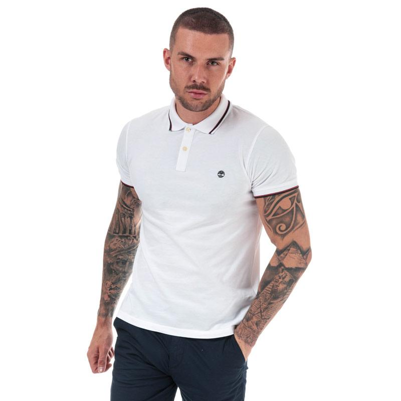 Timberland Mens Millers River Tipped Polo Shirt White