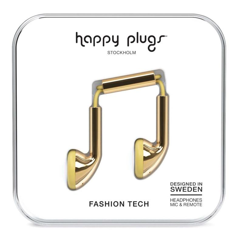 Happy Plugs Earbud Headphones Gold