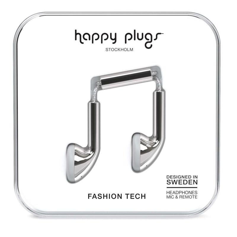 Happy Plugs Earbud Headphones Silver