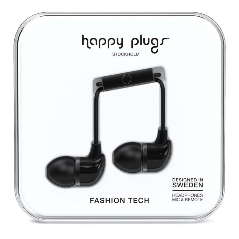 Happy Plugs In Ear Headphones Black