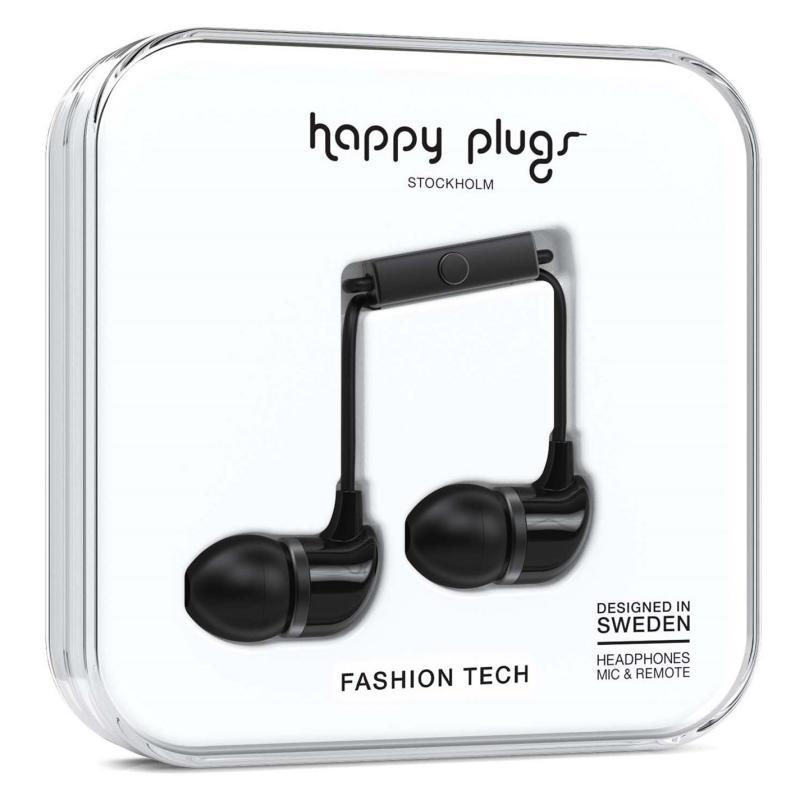 Happy Plugs In Ear Headphones Black