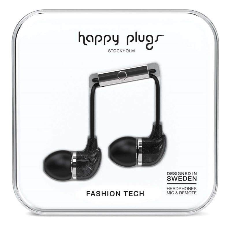 Happy Plugs In Ear Headphones Black Marble