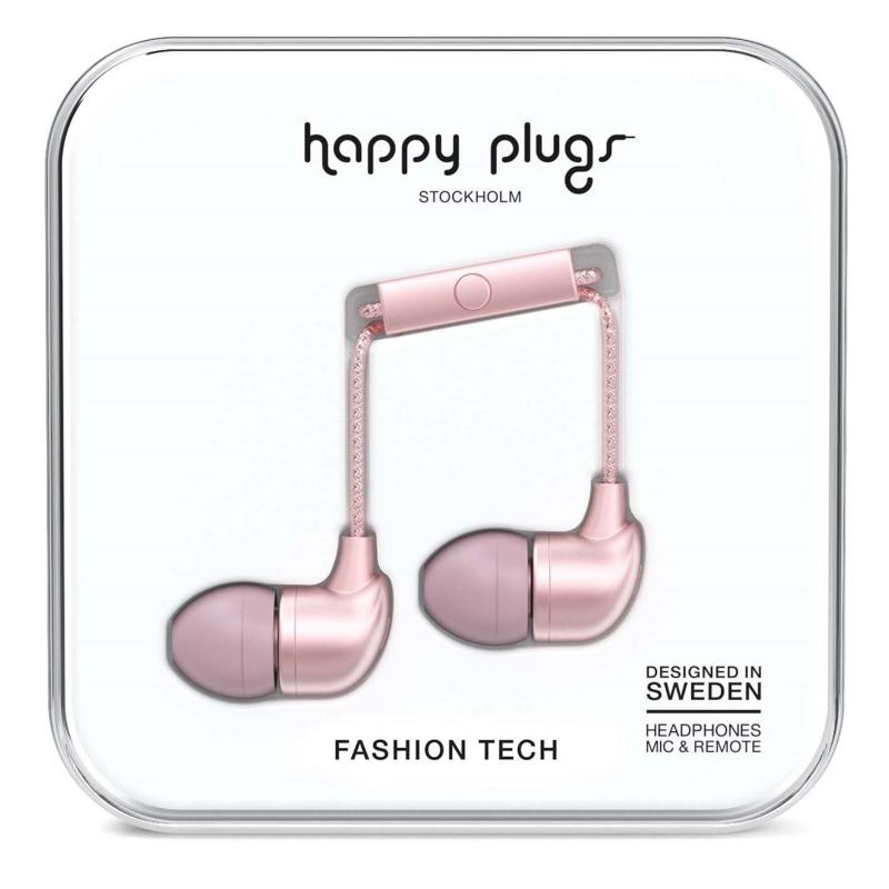 Happy Plugs In Ear Headphones Pink Gold