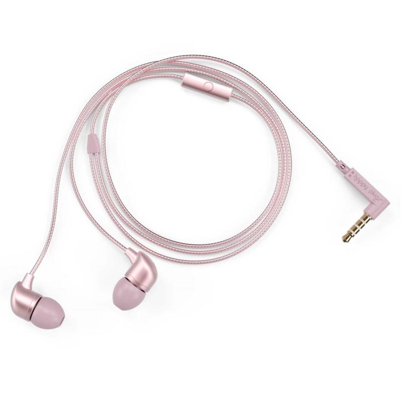 Happy Plugs In Ear Headphones Pink Gold