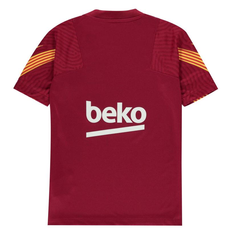 Nike FC Barcelona Strike Big Kids' Short-Sleeve Soccer Top NOBLE RED/NOBLE RED/AMARILLO/A