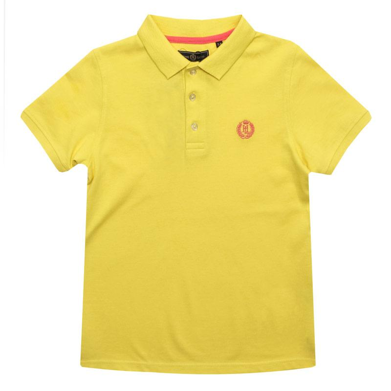 Tričko Henri Lloyd Junior Boys Pop Collar Polo Shirt Yellow
