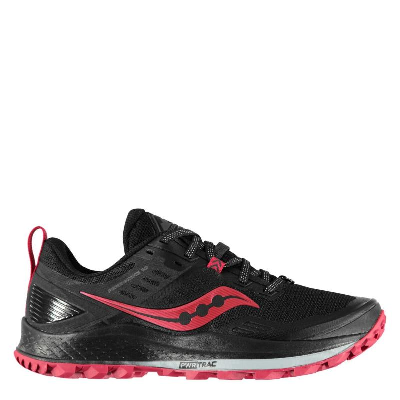 Saucony Peregrine 10 Ladies Trail Running Shoes Black/Barberry