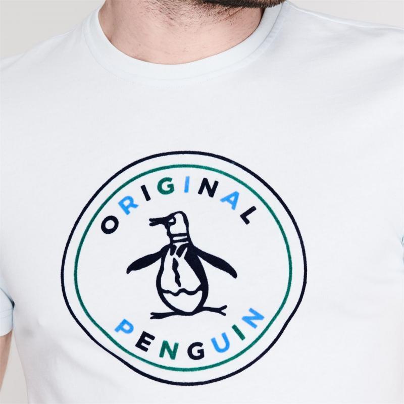 Tričko Original Penguin Flocked T Shirt 402 Ballad Blue