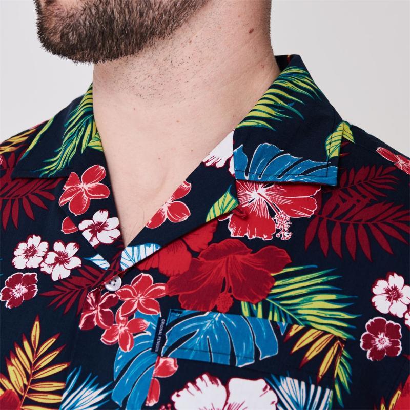 Original Penguin Floral Shirt 413 Dk Sapphire